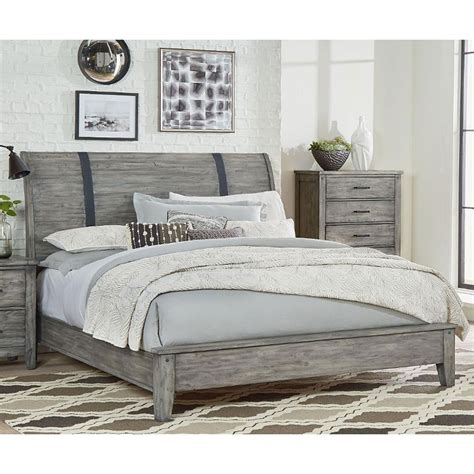 Rustic Casual Gray Queen Sleigh Bed  Nelson  Rc Willey