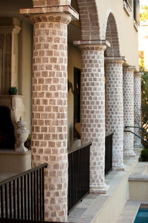 brick column loggia  brick arches  black