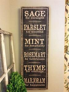 Herb word art kitchen sign vintage rustic hand