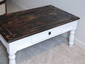 coffee table painted antique white and distressed wood With distressed white coffee table set