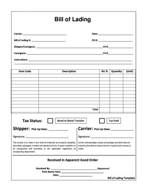 printable bill  materials template forms fillable