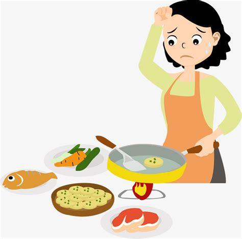 element de cuisine 煮饭的妈妈素材图片免费下载 高清卡通手绘psd 千库网 图片编号7777529