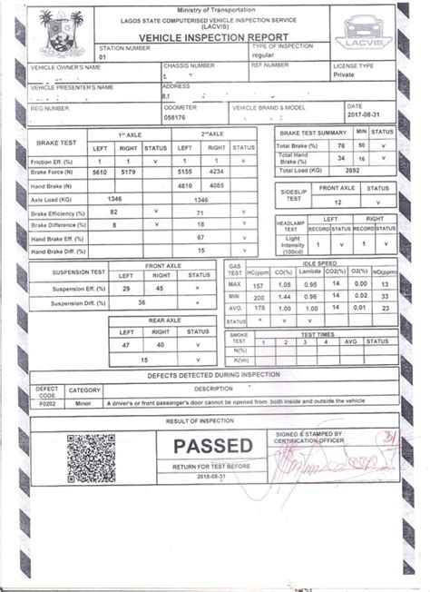 photo    lagos road worthiness certificate issued