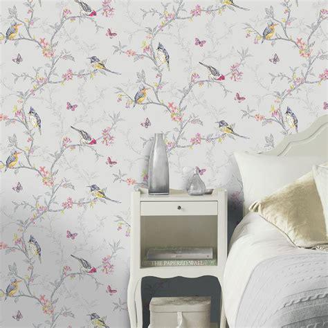 holden decor phoebe birds wallpaper  soft teal dove