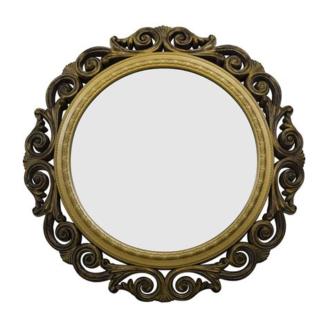 5 inches in diameter and top handle measures 5 inches. 80% OFF - Gold Scrolled Frame Round Wall Mirror / Decor