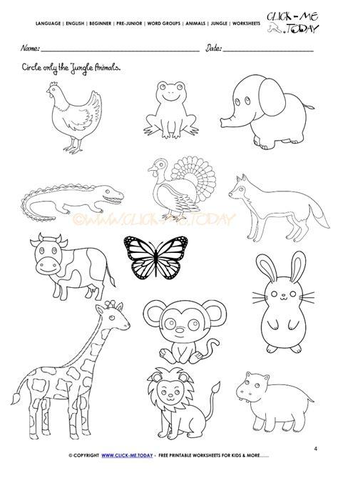 jungle animals worksheet activity sheet circle 4