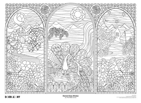 Minimoomis Kleurplaat by Stained Glass Window Doodle Coloring Poster Photo By