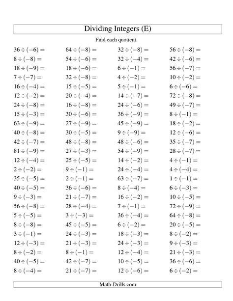 18 best images of math worksheets integers integers