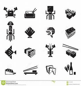 Sushi Icons Vector Set. Seafood Black Symbols Stock Vector ...