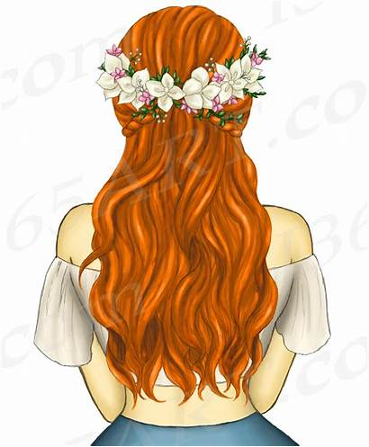 Clipart Hair Ginger Boho Flower Wreath Bundles
