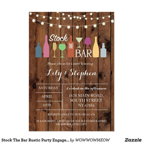 stock  bar rustic party engagement invitation zazzle