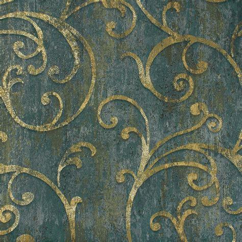 barock tapete türkis tapeten barock struktur blau gr 252 n gold tapete