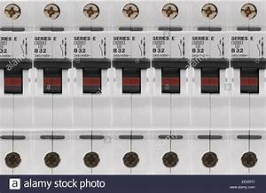 Electrical Circuit Breaker Fuse Box Switches Stock Photo