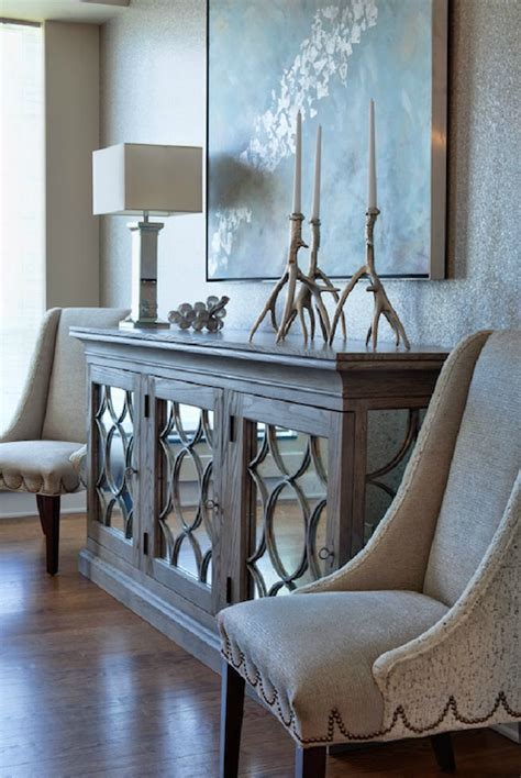 Morrocan Table Lamp by Mirrored Buffet Transitional Entrance Foyer