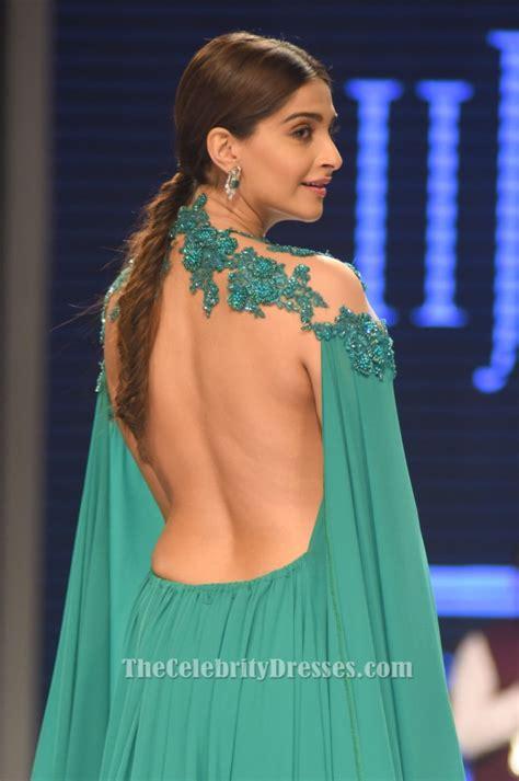 Sonam Kapoory  Ee  Green Ee   Backless Embroidered Evening  Ee  Dress Ee