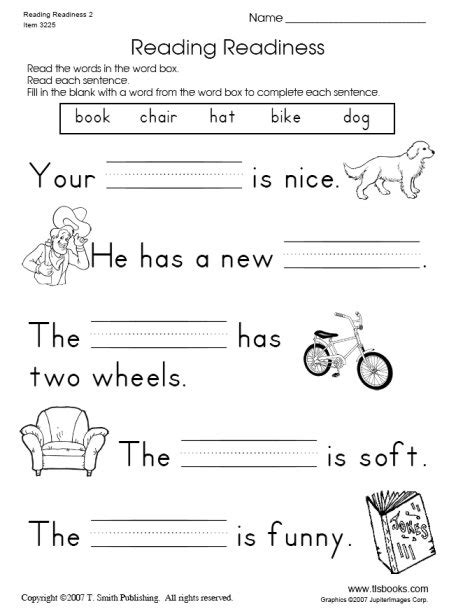 reading readiness worksheet 2