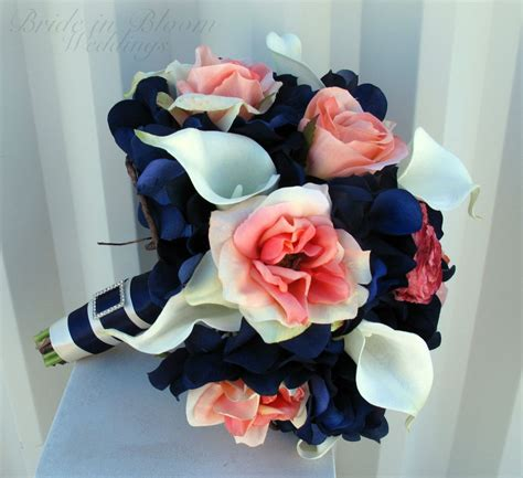 Wedding Bouquet Coral Navy Bouquet Calla Lily Rose