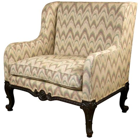 Wing Back Settee by Upholstered Wing Back Settee At 1stdibs