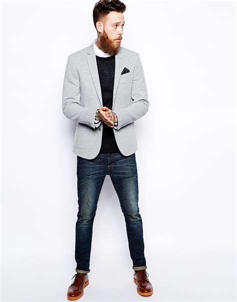 asos fit vest in black asos slim fit blazer in jersey in gray for lyst