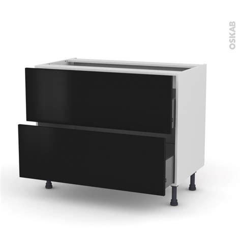meuble cuisine noir meuble de cuisine casserolier ginko noir 2 tiroirs l100 x