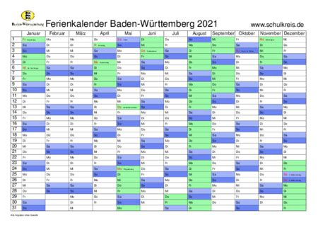 Bekijk hier de online kalender 2021. Schulferien-Kalender Baden-Württemberg BW 2021 mit ...
