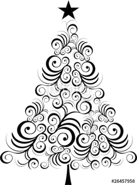 """Christmas tree black outline"" Stock image and royalty"