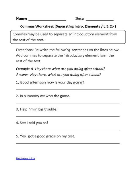 10 Best English Commas Worksheets Images On Pinterest  Worksheets, Grammar And Middle School