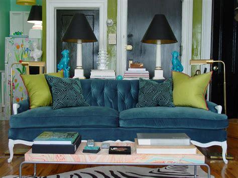 blue velvet sofa living room 5 small room rules to break hgtv