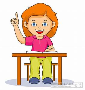 Desk clipart raise your hand - Pencil and in color desk ...