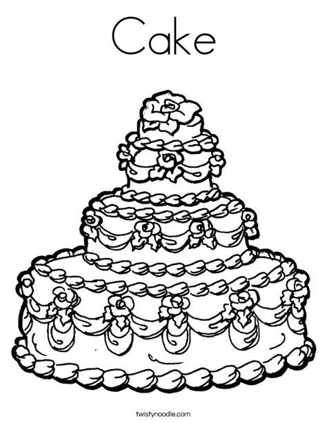 cake coloring page twisty noodle