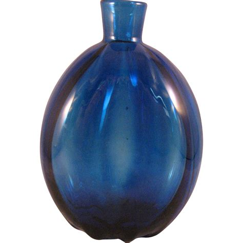 cobalt blue glass l vintage cobalt blue art glass vase or flask 1960 39 s from