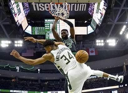 Giannis Brown Celtics Bucks Dunk Jaylen Antetokounmpo