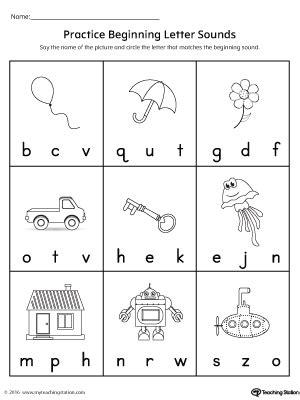 practice beginning letter sound worksheet
