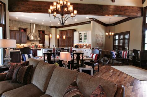 home interior sconces lodge inspired residence open concept kitchen dining