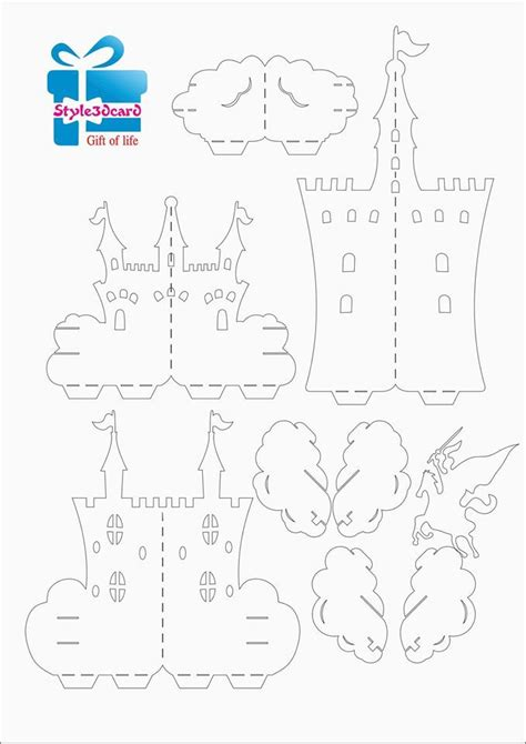 castle  pop  card pattern  pop  card templates