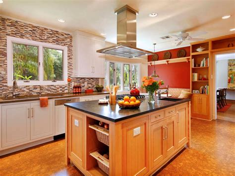craftsman kitchen  large island  red accent wall hgtv