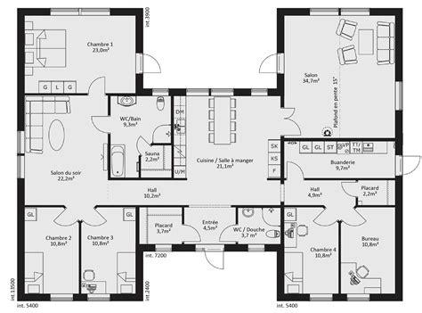 plan maison 3 chambres plain pied garage cuisine maison de piã ces avec cuisine ouverte surface