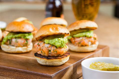 canape recipes uk smoked salmon and prawn sliders with brioche buns dill