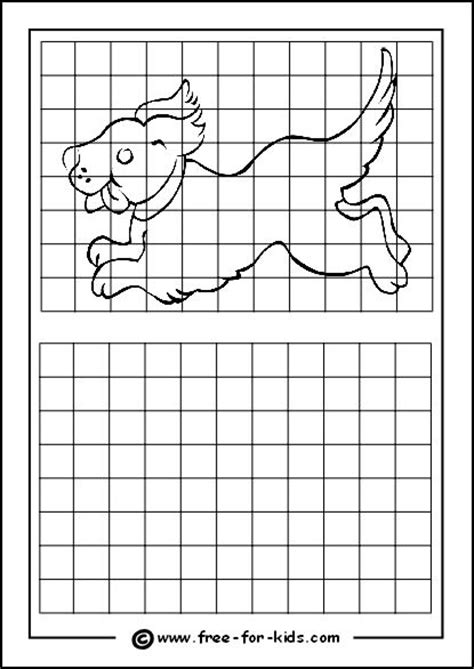practice drawing grid  puppy art printables