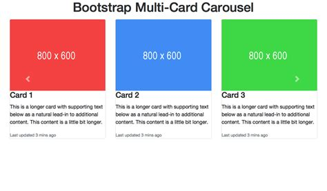 scrolling bootstrap card carousel  images cards