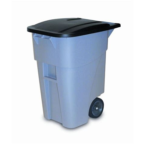 rubbermaid commercial products brute 50 gal grey rollout trash can with lid fg9w2700gray the