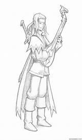 Elf Lute Bard Print Elves Playing Sparad Fran sketch template