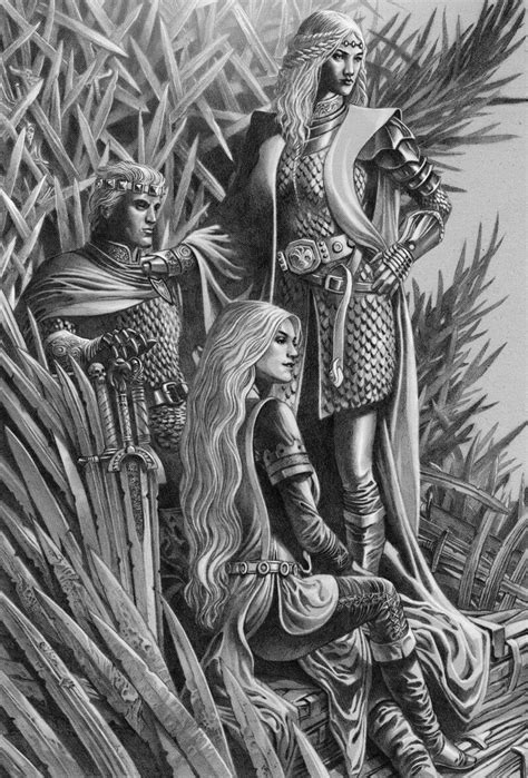 "Rhaenys, Aegon the Conqueror, and Visenya Targaryen by George Wheatley, ""Fire and Blood"" vol.1"
