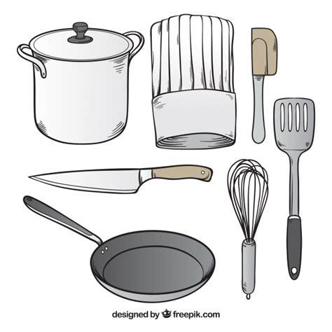 set de cuisine vintage surtido de utensilios de chef dibujados a mano descargar