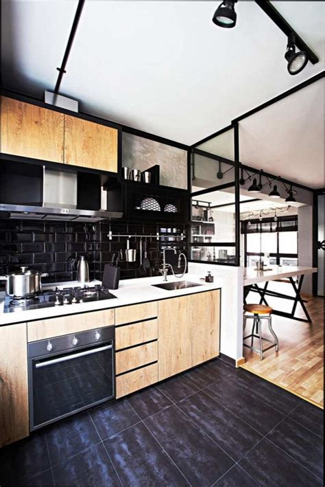 carrelage noir cuisine cuisine bois cuisine bois avec carrelage noir