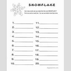 Snowflake Word Activity Worksheet