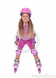 Design American Girl Doll Roller Skating Little Girl Laughing Isolated Royalty