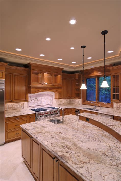 kitchen with cabinets and light granite insight series recessed can light inspiredled 9851