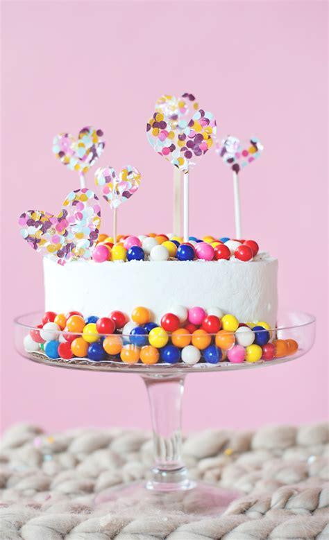 Confetti Hearts Bubble Gum Cake Subtle Revelry