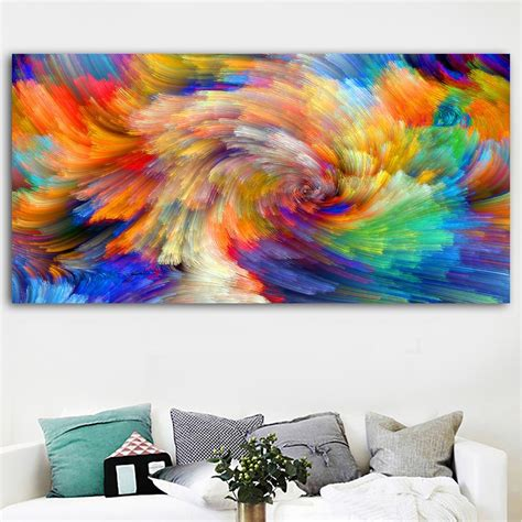 hd abstract art rainbow colors splash background canvas